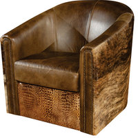 Rustic Swivel Tub Accent Chair