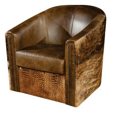 1st Avenue - Vonnegut Rustic Leather Swivel Tub Accent Chair - Armchairs and Accent Chairs