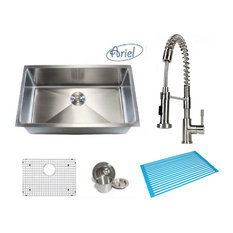 ariel ariel 30 single bowl kitchen sink and coil faucet combo kitchen sinks. beautiful ideas. Home Design Ideas