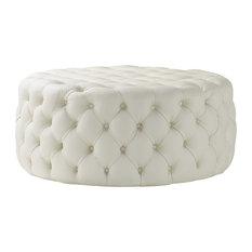 Nuvol Venetia Leather Footstool, Cream