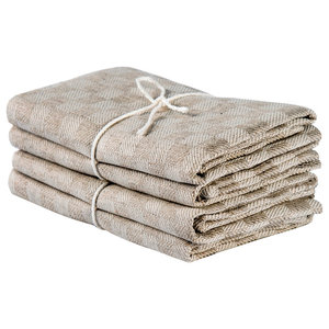 Axlings Chess Linen And Cotton Kitchen Towel, 2 Pack, Natural and White