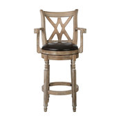 GDF Studio Voisin Chocolate Brown Leather Swivel Barstool with Arms