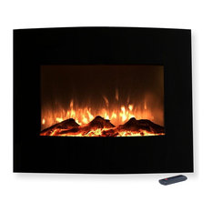 25 Mini Curved Black Fireplace With Wall Mount And Floor Stand By Northwest