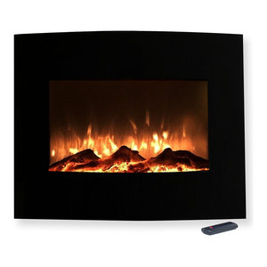 "25"" Mini Curved Black Fireplace with Wall Mount and Floor Stand by Northwest"