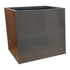 Glossy Grey Cube Fibreglass Planter, 40x40x40 cm