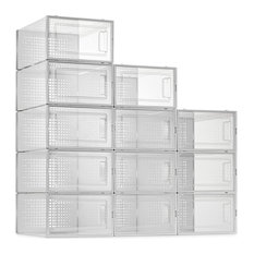 12 Pack Shoe Storage Boxes, Clear Plastic Stackable Shoe Organizer Bins, Drawer