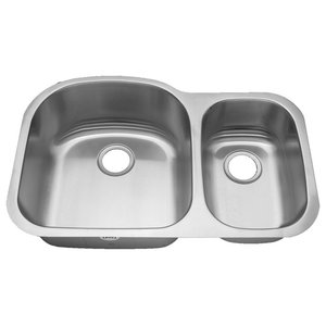 Premier Duke, 18 Gauge Stainless Steel 60/40 Double Bowl Sink ... on 70 30 undermount stainless steel sink, 24 bathroom vanity with sink, hammered copper farmhouse sink, cast iron undermount double sink, 24 x 16 sink, copper bowl sink,