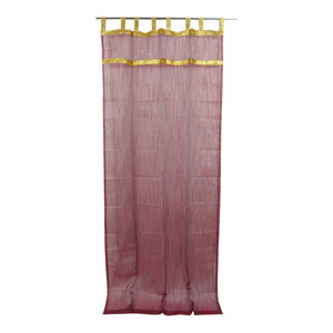 "Mogul Interior - 2 Indian Curtain Golden Sari Border Sheer Organza Window Drapes Panel, 48x108"" - Curtains"