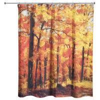 """Autumn Path Shower Curtain, 71""""x74"""""""