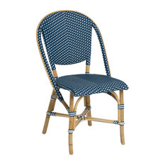 Sofie Outdoor Bistro Stacking Side Chair, Navy and White