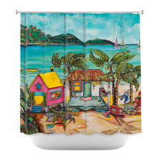 Shop Tropical Turquoise Shower Curtains