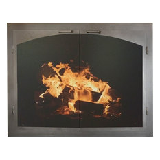 """Fireplace Glass Door, Gate Mesh, 2.5"""" Frame In Brushed Gray, 43""""X2""""X34"""""""
