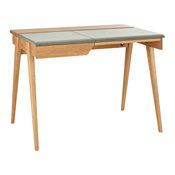 Beckett Kleiner Schreibtisch aus Eichenholz und Leder