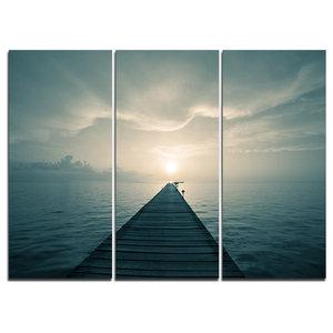 """Dark Boardwalk into Blue Sea"" Wall Art, 3 Panels, 36""x28"""