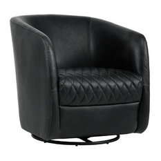Barrel-Back Leather Chair With Steel Round Base, Diamond-Stitched Seat, Black