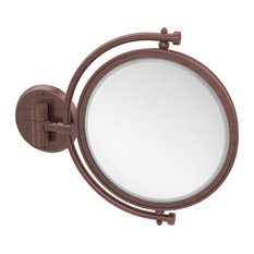 "8"" Wall Mounted Make-Up Mirror 4X Magnification, Antique Copper"