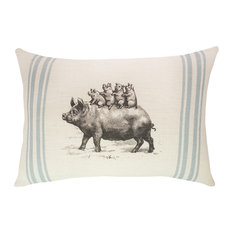 TheWatsonShop - Pigs Burlap Pillow - Decorative Pillows