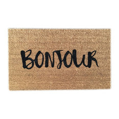 """Hand Painted """"Bonjour"""" Welcome Mat, Black Soul"""