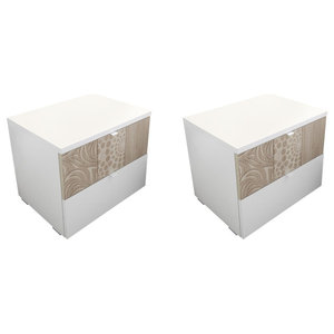 Miro Set of 2 Bedside Cabinets, White and Oak