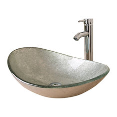 Tuscany Oval Bathroom Glass Sink With Chrome Faucet and Drain