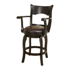 GDFStudio - Cody Armed Espresso Leather Swivel Counter Stool - Bar Stools and Counter Stools