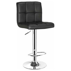 Bar Stool, Faux Leather Upholstery, Chromed Steel Base With Height Adjustment