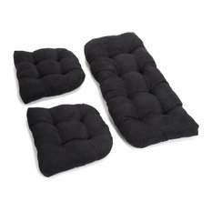 U-Shaped Microsuede Tufted Settee Cushion Set, Set of 3, Black