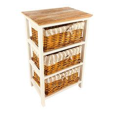 Wooden Storage Cabinet With 3 Baskets