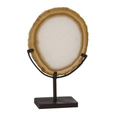"""15"""" T Crystal Sculpture Smooth Natural Agate Stone Metal Stand Cut Crystal"""