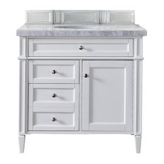 "Brittany 36"" Cottage White Single Vanity w/ 2cm Carrara White Marble Top"
