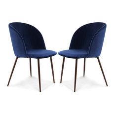 Kantwell Velvet Dining Chair Space Blue Set Of 2