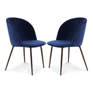 Poly and Bark Kantwell Velvet Dining Chair, Space Blue, Set of 2