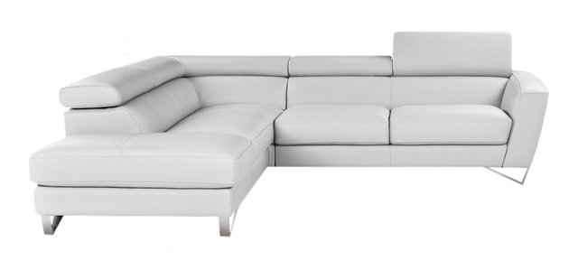 Sparta Italian Leather Sectional Sofa, White, Left Facing Chaise