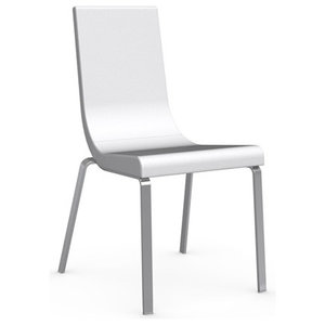 Cruiser Leather Chair, Chrome Frame, Optic White Seat, Set of 2