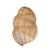 Wicker Coiled Shell Pendant Lamp, Handwoven, Natural Brown