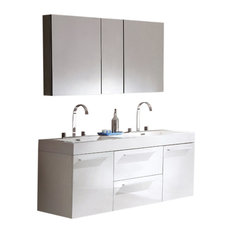 "54"" Opulento White Double Sink Vanity, Medicine Cabinet Fortore Chrome Faucet"