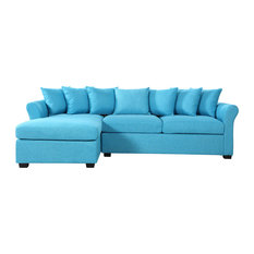 Divano Roma Furniture   Modern Large Linen Sectional Sofa With Extra Wide  Chaise Lounge, Blue Part 91