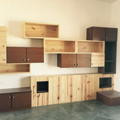 Teak and Pine combination storage unit