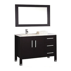 Monaco Single Sink Bathroom Vanity Set,  Espresso, Left Sink