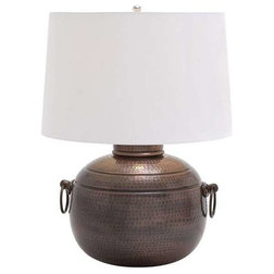 Traditional Table Lamps Hammered Design Metal Table Lamp with Two Ring Latches Attached To Each Side