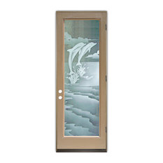 Sans Soucie Art Glass - Glass Front Entry Door Sans Soucie Art Glass Dolphins Leaping 2D - Front Doors