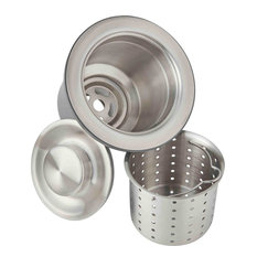 "Elkay 3.5"" Drain Fitting, Deep Strainer Basket and Brass Tailpiece, Brushed"