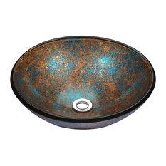 ANZZI Stellar Series Deco-Glass Vessel Sink in Emerald Burst