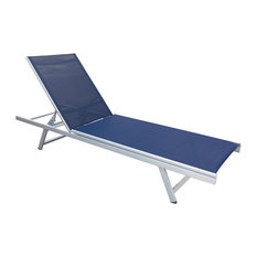 CorLiving Gallant Reclining Patio Lounger, Navy Blue