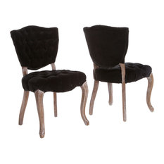 GDF Studio Violetta French Design Dining Chair, Set of 2, Black