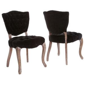 GDF Studio Violetta French Design Dining Chair, Set of 2, Black