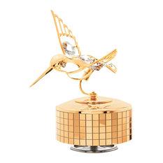 24K Gold Plated Music Box With Crystal Studded Hummingbird Figurine