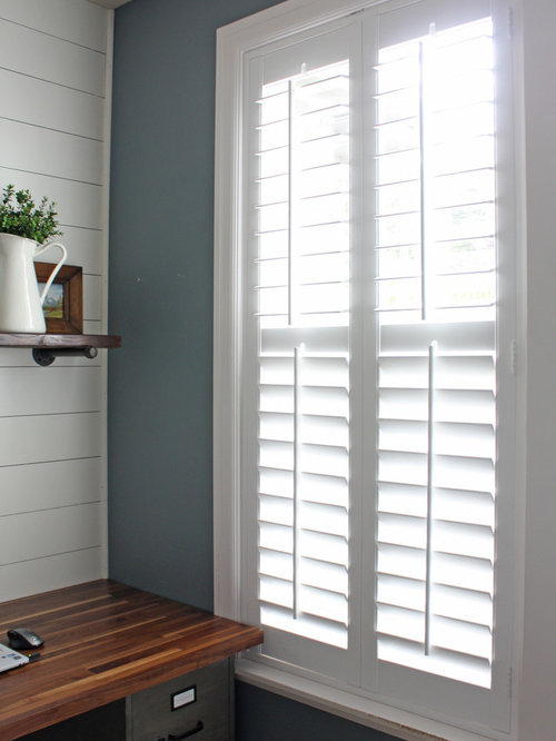 Vintage Shiplap Home Office With Plantation Shutters