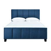 King Upholstered Modern Channel Bed, Ivory, Blue, King