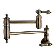 Kingston Brass Wall Mount Pot Filler Kitchen Faucet, Antique Brass